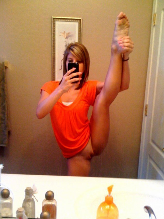 Gymnast small woman shooting..
