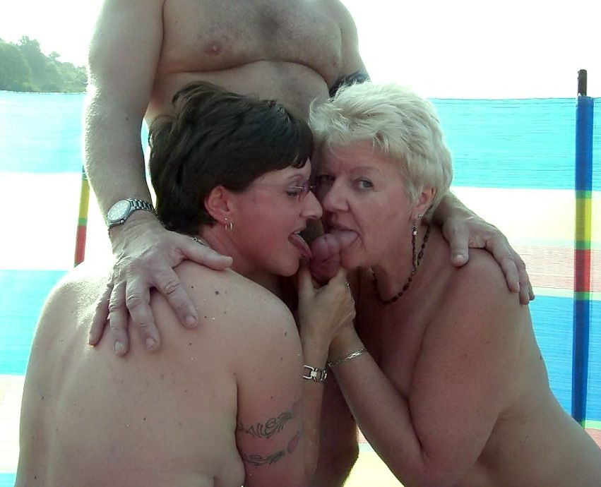 Mature naturist duo on the public..